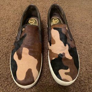 Michael Kors brown camp slip-on sneakers